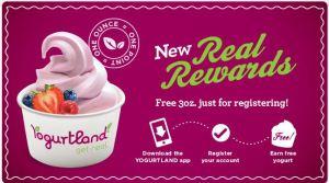 Yogurtland Real Rewards program, earn free yogurt