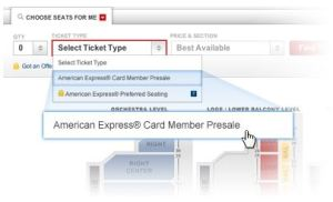 American Express, Ticketmaster, Costco, Priorty Seating, presale concert code
