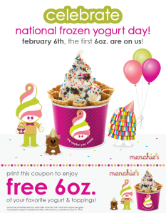 Menchie's, free frozen yogurt, national frozen yogurt day