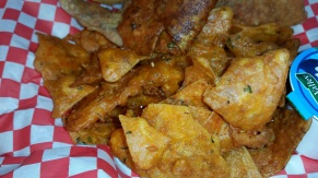 Fried Chicken Skins and Fried Doritios up close and personal