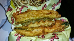 Fried zucchini and French fries from Juicy's