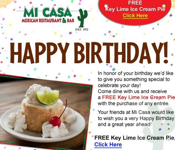 If your birthday plans include eating out, and you are a fan of free food, many local restaurants offer sweet treats and special discounts that can help you celebrate.