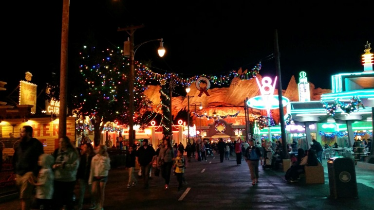 Cars Land Decked out for the holidays - Disneyland Holiday Magic