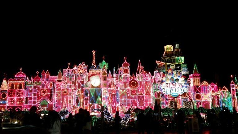 Small World Lit up for the holidays - Disneyland Holiday Magic