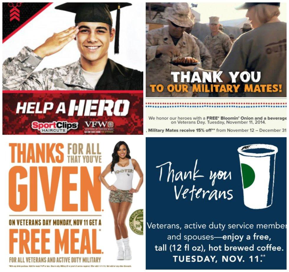 Veteran's Day Deals, Freebies, deals, 2014