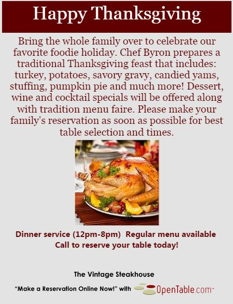 Thanksgiving dining 2014, restaurants thanksgiving, orange county