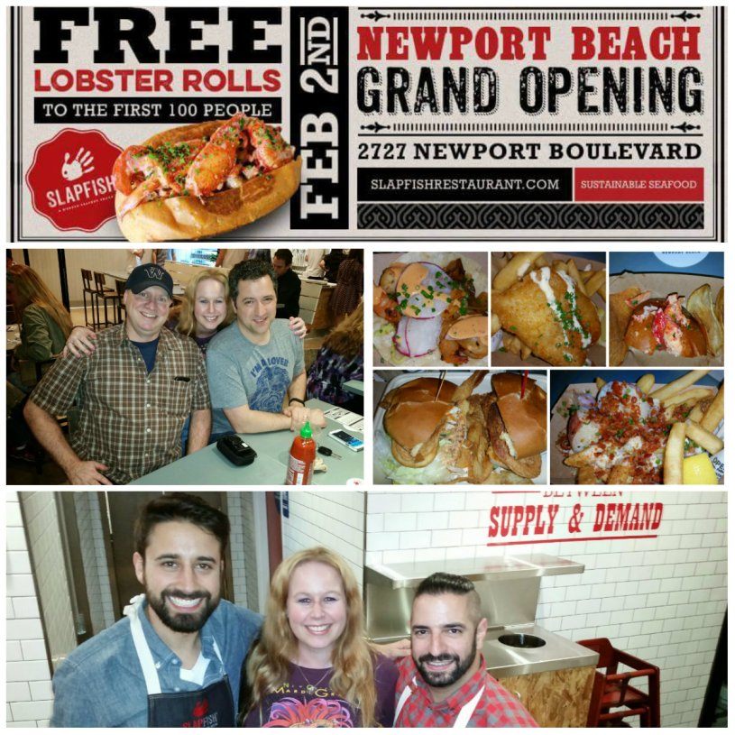 Slapfish newport beach, grand opening, free lobster rolls