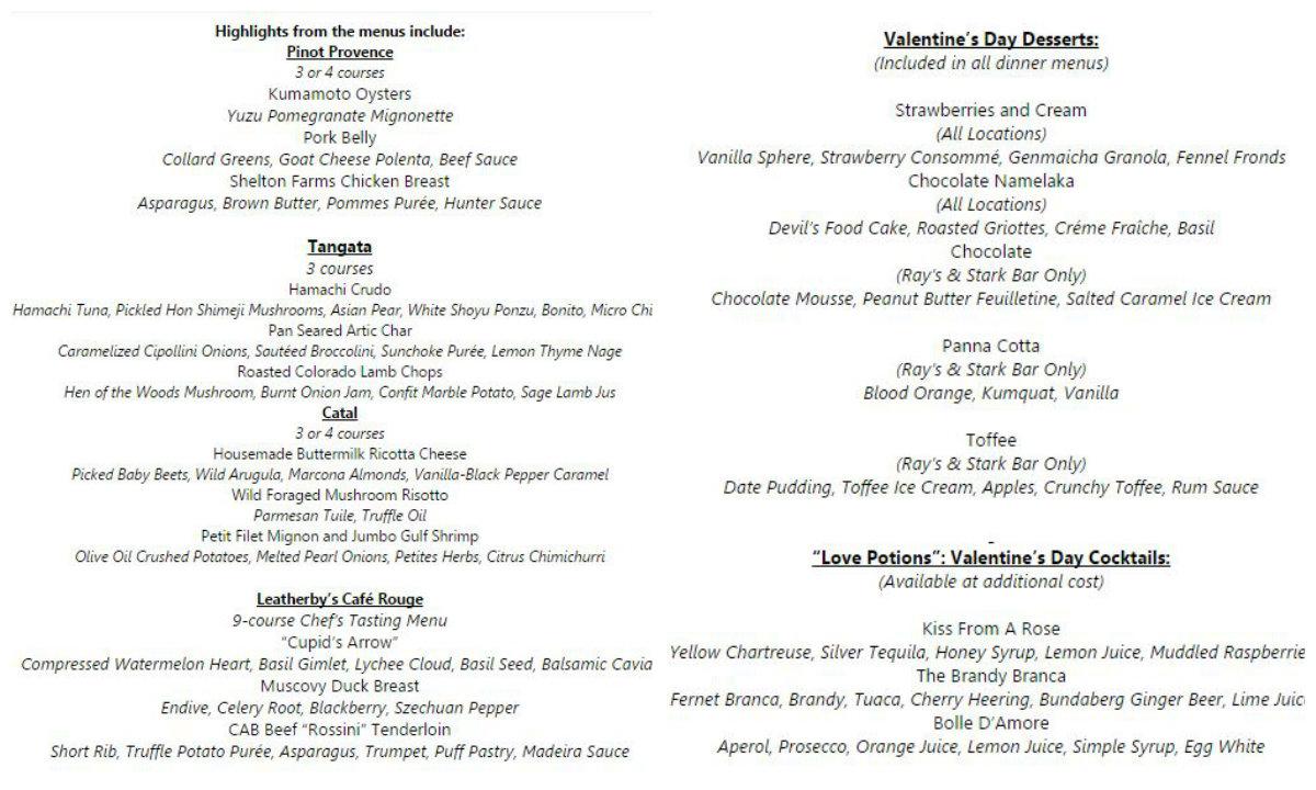 valentines day 2015 dining gift ideas - Valentine Menu Ideas