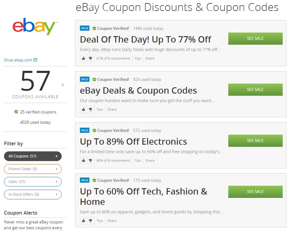 Ebay coupons discounts