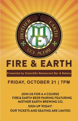 green2go, mother earth brewing, beer pairing dinner