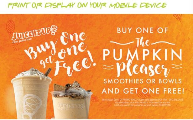 Juice It Up, Pumpkin pleasers, pumpkin smoothie, holiday juices