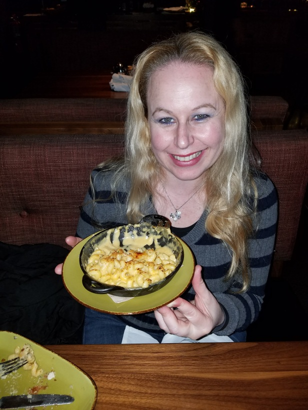 Dani with Truffled Mac and Cheese - Jimmy's Famous American Tavern - Brea