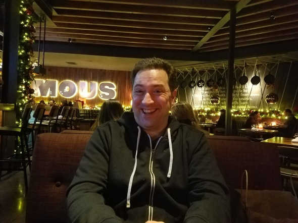 My husband at Jimmy's Famous American Tavern