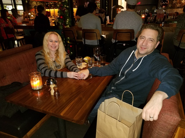 Dani and Tommy at Jimmy's Famous American Tavern in Brea after a lovely dinner