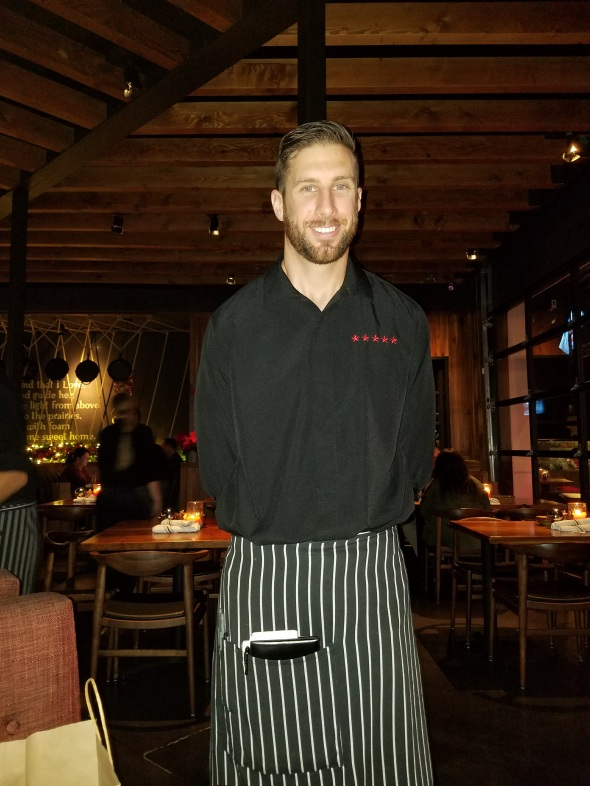 Our fabulous waiter, Rob at Jimmy's Famous American Tavern in Brea
