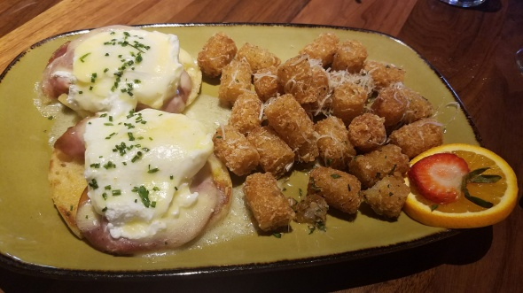 Eggs Benedict and Tater Tots with Parmesan and Truffle Oil - JFAT Brunch - Jimmy's Famous American Tavern