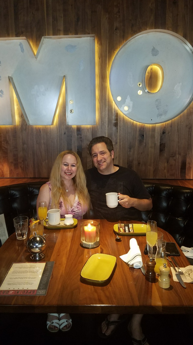 My love and I enjoying our meal - JFAT Brunch - Jimmy's Famous American Tavern