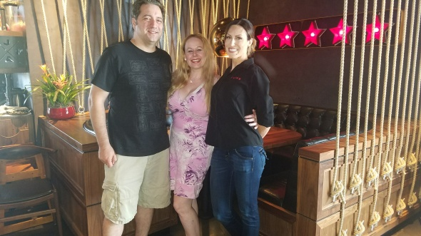 With my hubby and our friend and bartender, Stephanie - JFAT Brunch - Jimmy's Famous American Tavern
