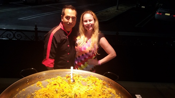 Me with Chef Leo Razo and his paella at Villa Roma - Paella Wine and Beer Festival